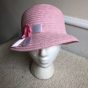 Hartstrings Pink Straw Woven Hat w/ Bow NWOT